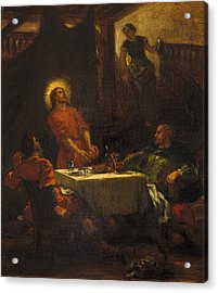 The Disciples At Emmaus Acrylic Print by Eugene Delacroix