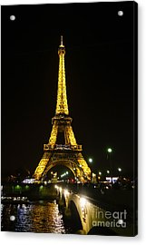 The Eiffel Tower At Night Illuminated, Paris, France. Acrylic Print by Perry Van Munster