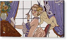 The First Letter Acrylic Print by Georges Barbier