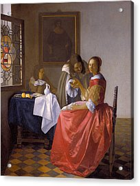 The Girl With A Wineglass Acrylic Print by Johannes Vermeer
