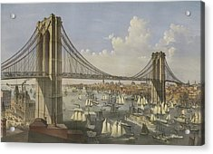The Great East River Suspension Bridge Acrylic Print by Currier and Ives