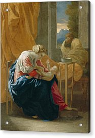 The Holy Family Acrylic Print by Nicolas Poussin