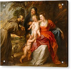 The Holy Family With Saints Francis And Anne And The Infant Saint John The Baptist Acrylic Print by Peter Paul Rubens