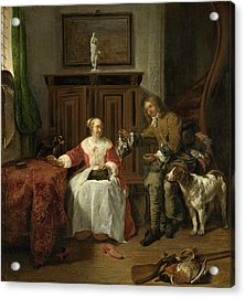 The Hunter's Present Acrylic Print by Gabriel Metsu