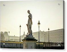 The Louvre Seen From The Garden Of The Tuileries. Paris. France. Europe. Acrylic Print by Bernard Jaubert
