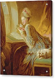 Acrylic Print featuring the painting The Love Letter by Jean Honore Fragonard