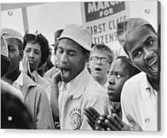 The March On Washington  A Group From Detroit Acrylic Print by Nat Herz