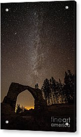 The Milky Way Over The Hafod Arch, Ceredigion Wales Uk Acrylic Print