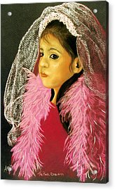 Acrylic Print featuring the pastel The Pink Boa by Jan Amiss