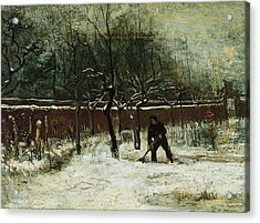 The Rectory Garden In Nuenen In The Snow Acrylic Print by Vincent van Gogh