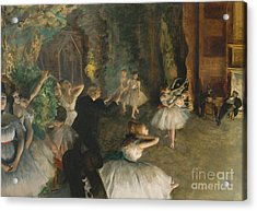 The Rehearsal Of The Ballet On Stage Acrylic Print by Edgar Degas