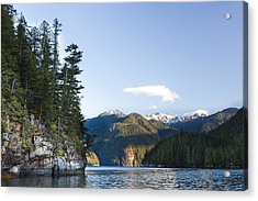 The Rugged, Rocky Forested Shoreline Acrylic Print by Taylor S. Kennedy