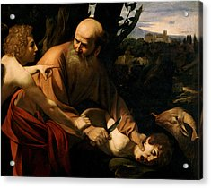 The Sacrifice Of Isaac Acrylic Print by Caravaggio