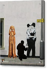 Acrylic Print featuring the mixed media The Scream World Tour Street Art by Eric Kempson