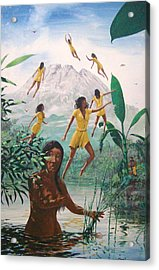 The Seven Angels Of Batur Acrylic Print by David  Larcom