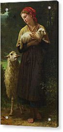 The Shepherdess Acrylic Print by William-Adolphe Bouguereau