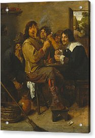 The Smokers Acrylic Print by Adriaen Brouwer