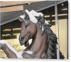 Acrylic Print featuring the pyrography The Stood Horse  by Yury Bashkin