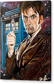 The Tenth Doctor And His Tardis Acrylic Print by Emily Jones