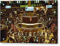 The Trading Floor Of The New York Stock Acrylic Print by Justin Guariglia