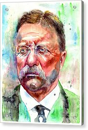 Theodore Roosevelt Watercolor Portrait Acrylic Print