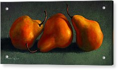 Three Golden Pears Acrylic Print by Frank Wilson