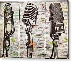 Three Microphones On Map Acrylic Print
