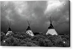 Acrylic Print featuring the photograph Three Teepee's by Carolyn Dalessandro