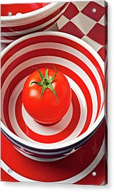 Tomato In Red And White Bowl Acrylic Print by Garry Gay