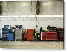 Tool Chests In An Automobile Repair Shop Acrylic Print by Don Mason