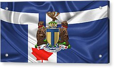 Toronto - Coat Of Arms Over City Of Toronto Flag  Acrylic Print by Serge Averbukh