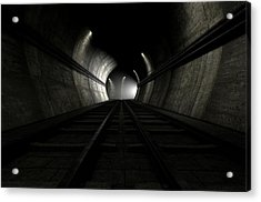 Train Tracks And Approaching Train Acrylic Print by Allan Swart