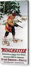 Acrylic Print featuring the painting Trapper With Wolves by Philip R Goodwin