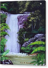 Tropical Waterfall Acrylic Print by Luis F Rodriguez