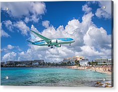 Tui Airlines Netherlands Landing At St. Maarten Airport. Acrylic Print by David Gleeson
