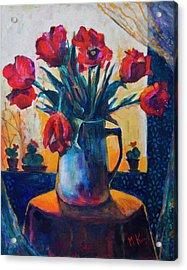 Tulips And Cacti Acrylic Print