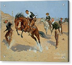 Turn Him Loose Acrylic Print by Frederic Remington