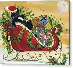 Tuxedo Santa Claus  Cat Acrylic Print by Sylvia Pimental