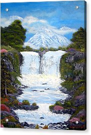 Twin Falls Acrylic Print by Allison Prior