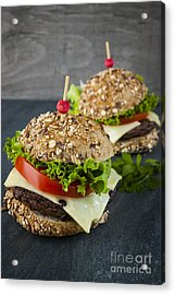 Two Gourmet Hamburgers Acrylic Print by Elena Elisseeva