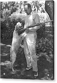 Ty Cobb With His Dog Acrylic Print by Underwood Archives
