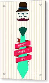 Typography Poster - Happy Father's Day Acrylic Print by Celestial Images
