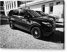 umass university campus police patrol vehicle Boston USA Acrylic Print