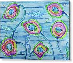 Underwater Space Flowers Acrylic Print by Erika Swartzkopf