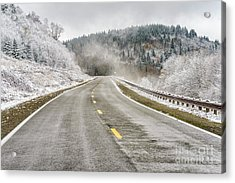 Acrylic Print featuring the photograph Unexpected Autumn Snow Highland Scenic Highway by Thomas R Fletcher