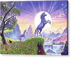 Acrylic Print featuring the digital art Unicorn Moon by Steve Crisp