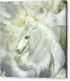 Acrylic Print featuring the mixed media Unicorn Rose by Carol Cavalaris