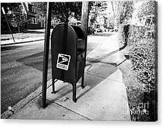 united states postal service mailbox on residential street dorchester Boston USA Acrylic Print