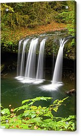 Upper Butte Creek Falls In Autumn Acrylic Print by David Gn