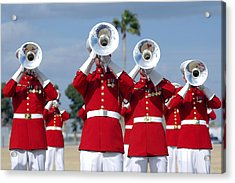 U.s. Marine Corps Drum And Bugle Corps Acrylic Print by Stocktrek Images